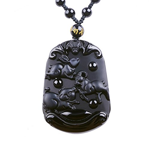 G&T Unisex Natural Obsidian Three Zodiac Pendant Necklace as Gift(C1) (Simple Homemade Frog Costume)