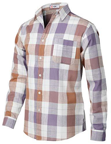 (H2H Mens Casual Regular Fit Button-Down Shirts Oxford Long Sleeve Basic Designed ORANGEPURPLE US L/Asia XL (KMTSTL565))