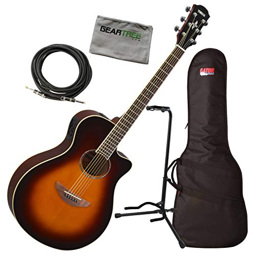 Yamaha APX600 OVS Thin Body Acoustic-Electric Guitar w/Bag, Stand, Cloth, Cable