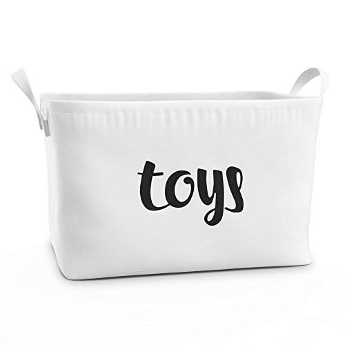 Fawn Hill Co Toy Storage Box Basket for Baby, Kids or Pets | Container Bin for Organizing Clutter in Bedroom, Nursery, Daycare, Classroom & Closet | Modern White Cotton Canvas with Handles (Medium)