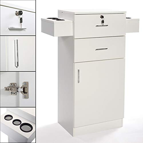 White 3-layer Beauty Salon Storage Cabinet w/6 Hair Dryer Holders Lockable Styling Station