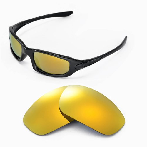 Walleva Replacement Lenses for Oakley Fives 4.0 Sunglasses - Multiple Options Available (24K Gold Mirror Coated - Polarized) -