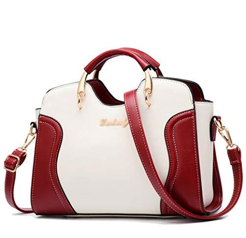 FLHT, Borsa Femminile, Borsa Da Donna In Pelle PU Grande Capacità Borsa Messenger Bag Tracolla Borsa Da Viaggio Piccola Borsa Cosmetici Lavoro Shopping Bag Borsa In Pelle Red