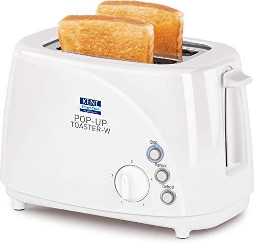 KENT 850-Watt 2-Slice Pop-up Toaster (White)