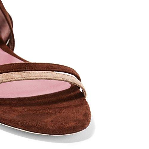Sandali Con I Lacci In Pelle Scamosciata Delle Donne Ydn Open Toe Gladiatore Scarpe Comode Mix-brown