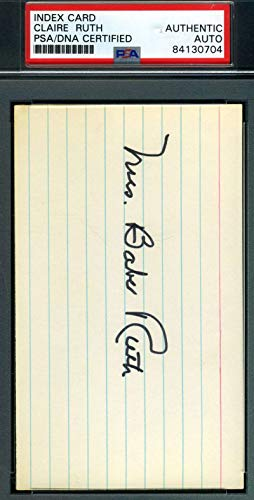 MRS BABE RUTH PSA DNA Autograph 3X5 Index Card Authentic for sale  Delivered anywhere in USA