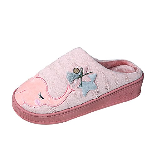 Warm Autumn Outdoor Cute Slippers Breathable Womens Cozy Shoes SITAILE House Elephant Winter pink Indoor AgvxYHA6qw