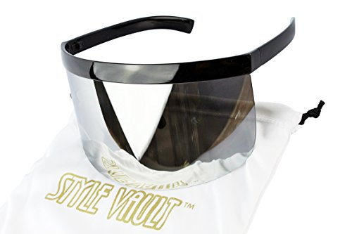 A3070 Visor Mask Style Futuristic Shield Oversize Sunglasses (C013 #4 Silver mirror, - Futuristic Sunglasses