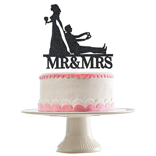 Black Glittery Mr & Mrs Cake Topper for Wedding Party Decorations,Wedding Cake Topper
