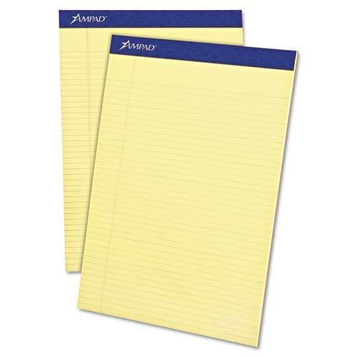 Ampad - Writing Pad, Narrow Rule, Letter, Canary, Micro Perf, 50-Sheet Pads, Dozen 20-222 (DMi DZ