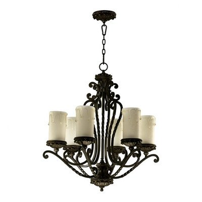 Quorum International 6086-6-86 Chandeliers with Amber Scavo Shades, Bronze