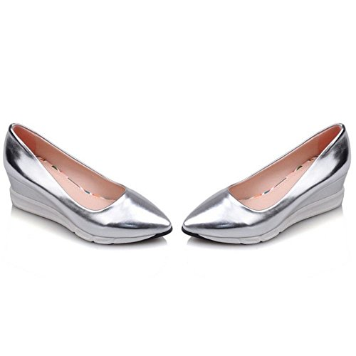 ons Mid Wedge Weight Going Silver KemeKiss Easy Light Slip Pumps Casual Women Heel Fashion 0qqwB8Pf