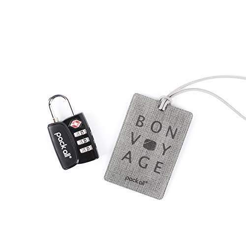 - pack all TSA Approved Luggage Lock with 1 Luggage Tag Set, 3 Digit Combination Padlock, Travel Lock for Suitcases & Bag, Inspection Indicator, Alloy Body, Travel Accessories