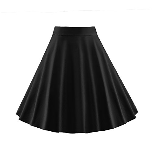 LUOUSE-Retro-Solid-Color-Vintage-High-Waist-A-line-Skirt-Dress