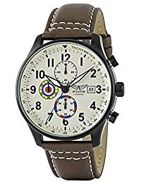 Aviator F-Series Men's Vintage World War II Pilot Design Quartz Chronograph 100 Meters Waterproof Watch Brown Leather Strap Wristwatch (Military Chronograph Pilot Watch)