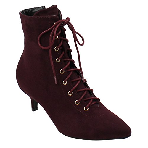 Beston EJ72 Women's Side Zipper Kitten Heel Ankle Booties Run Half Size Small, Color Wine, (Red Lace Up Boots)