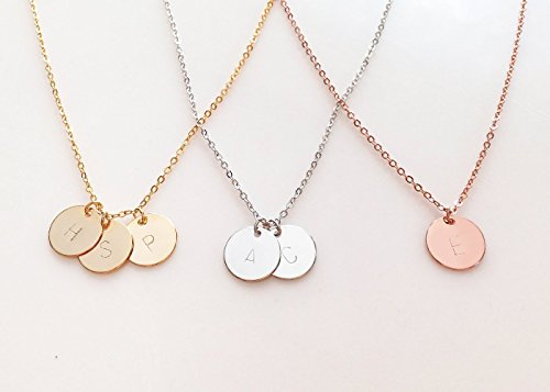 Disc Necklace Jewelry (A Delicate Initial Disc Necklace Rose Gold Initial Necklace Best Friend Personalized Bridesmaid)