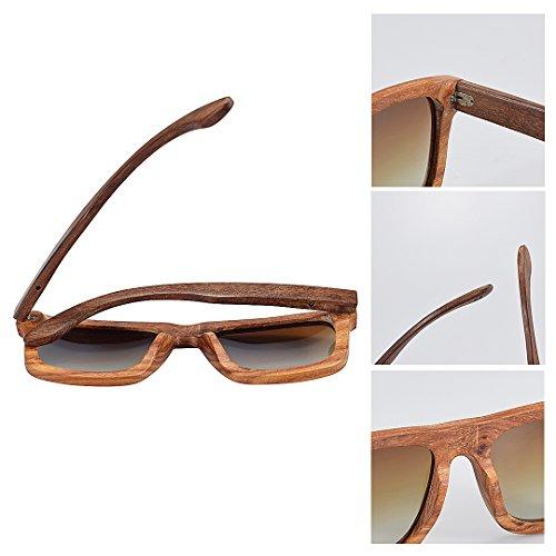 Sunglasses Sandalwood Sol Madera Red Eyewear Wood Gafas de Polarized BEWELL UV Hombre G004A Hycg06gAZ