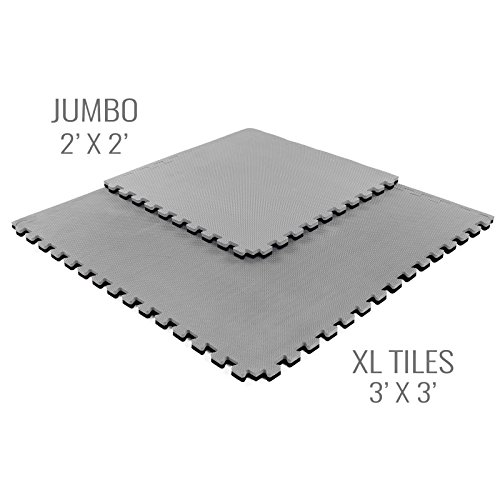 IncStores - Jumbo Soft Interlocking Foam Tiles (6 Tiles, Black/Grey) Perfect for Martial Arts, MMA, Lightweight Home Gyms, p90x, Gymnastics, Cardio, and Exercise by IncStores (Image #1)