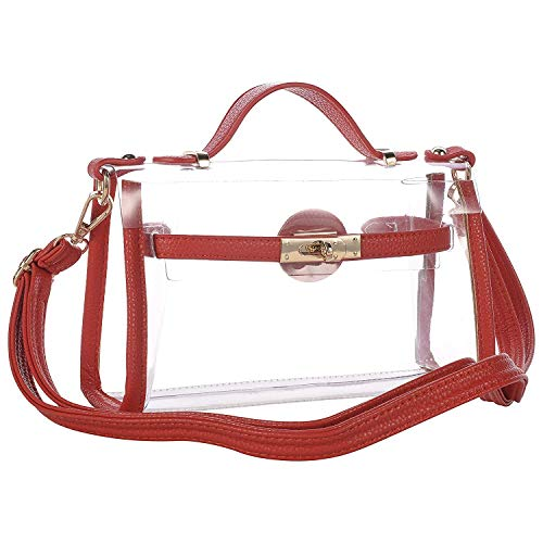 - Yocatech Transparent Crossbody Bags Clear Messenger Bags for Women NFL Stadium Approved, Adjustable Strap (Red)