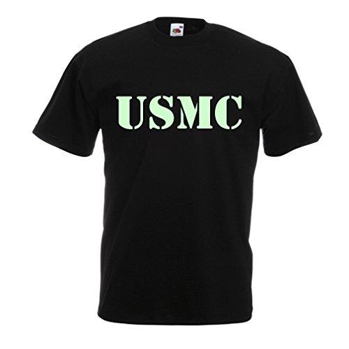 N4446 T Shirts For Men USMC (XXXXX-Large Black Fluorescent) (Homeland Security Uniform)