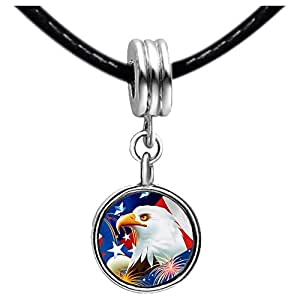 Chicforest Silver Plated Celebration of Independence Day Eagle Photo Light Rose Crystal October Birthstone Flower dangle Charm Beads Fits Pandora Charm