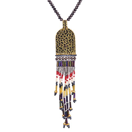 BeadChica Handmade Boho Pattern Long Necklace for Women Tassel Beadwork Jewelry (Color 2)