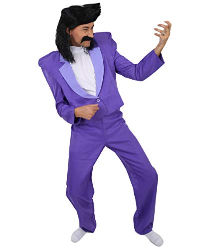 Men's 80's Rocker Animation Costume, Purple