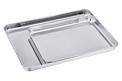 TeamFar Baking Sheet Cookie Sheet Set of 2, Pure Stainless Steel baking Pan Tray Professional, Non Toxic & Healthy… 2 √ HEALTHY MATERIAL - These baking sheets are made of high quality 18/0 magnetic stainless steel without toxic chemical coating; Rust resistant and durable material make these sheets perfect for everyday use √ EXQUISITE CRAFT - TeamFar baking pan is processed with superb mirror finish so its surface can decrease the risk of sticking; Smooth roll edge without rough spots make it comfortable to hold and transfer √ EASY CLEAN - Deep full sides all around keep food contained and prevent juice from flowing everywhere when roasting to keep your oven neat; TeamFar baking dish is compatible with dishwasher and just free your hands from now on