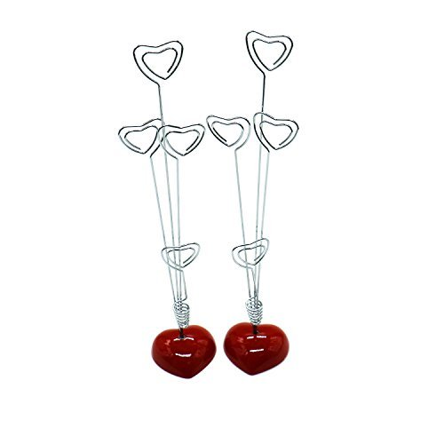 HUELE 2 Pcs Heart Based 4 Standing Heart Wire Photo Holders Stands Memo Card Paper Note Clips Holder Desk Clip Reminder
