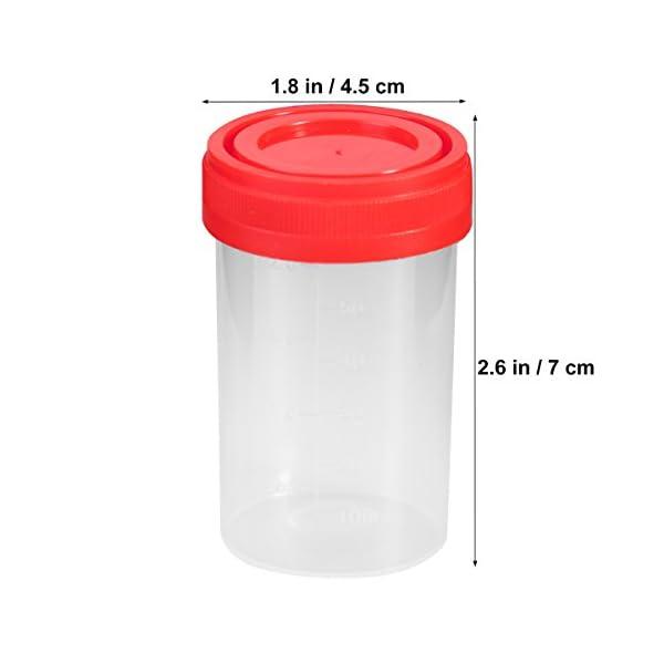 UEETEK 20Pcs Práctico Vaso de Muestra de Plástico Contenedor de Orina 60 ml EO Estéril sin Lable Uso Médico de Laboratorio (Color Aleatorio) 4