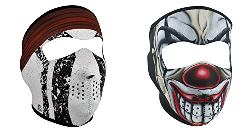 Bundle (2 Items): 1 ZanHeadgear 'Comanche Indian' Full Face Neoprene Face Masks -AND- 1 Zan 'Scary Chicano Clown' Full Face Neoprene Face Masks, Ski (Clown Faces Scary)