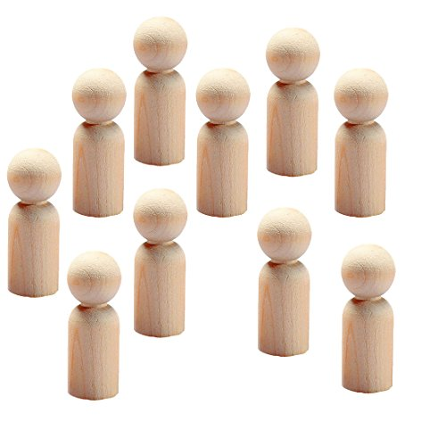 Hygloss Products Wood Peg Dolls – Craft Paintable Birchwood Doll People – 2-3/8 Inch Dads, 10 Pieces