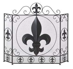 SKB Family Fireplace Fleur De Lis Screen Iron French Fire Panel New Tri-Fold Style Metal ()