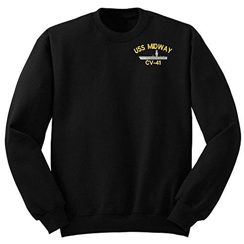 (Military USS MIDWAY CV-41 Ship Crew Neck Sweatshirt Large)