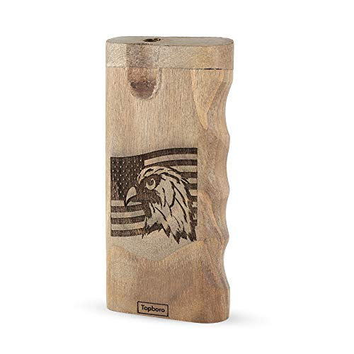 Teakwood Stash Box with Custom Engraved American Flag & Eagle design - Comes with Aluminum Bat, Spring load, Finger Notches for easy holding
