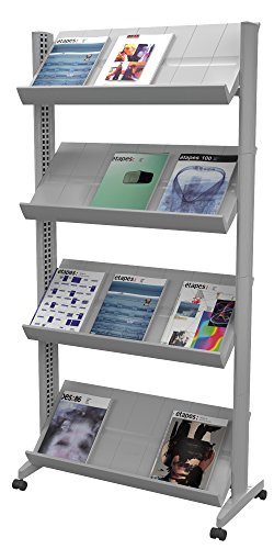 PaperFlow 66 x 33.67 x 15.17 Inches XL Mobile Literature Display, Single Sided, 4 Shelves, Silver (UPP3.35) (Mobile Single Shelf Tables)