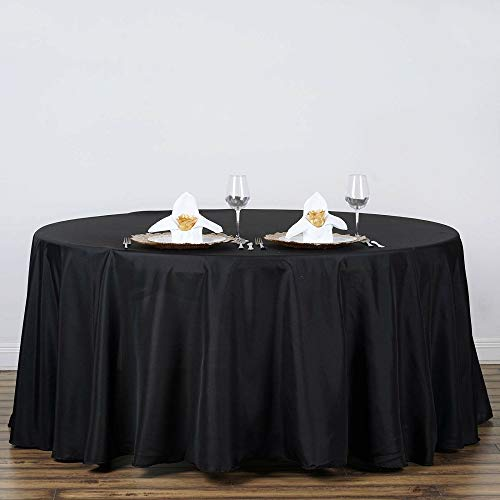 "Home Garden Black Kitchen Dining 120"" Round Polyester Tablecloth 2pcs Tkvormart from Unknown"