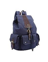 QSB Korean Style of Large-capacity Bag Fashion Splice Cowhide Canvas Backpack Shoulder Rucksack Travel Daypack 8877