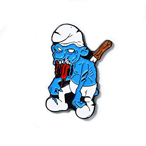 Blue Smurf Horror Movie Stab Wound Halloween Zombie Pendant Lapel Hat Pin