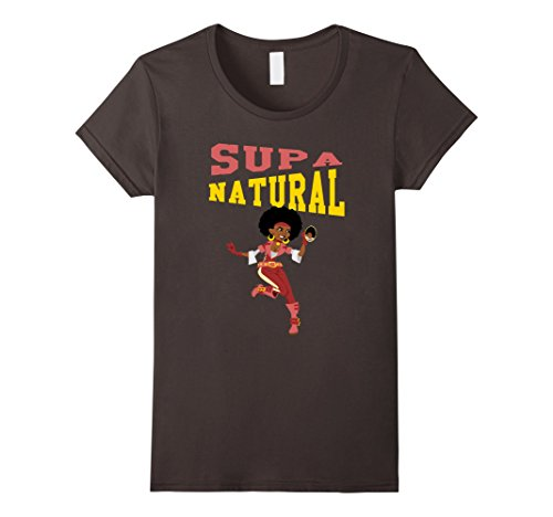 Supa Natural (Womens Cute and sexy T-Shirt African American Afrocentric quote Tee XL Asphalt)