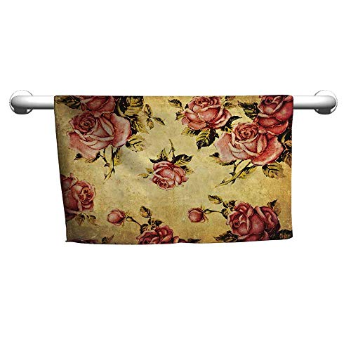 (flybeek Style Towel Rose,Old Fashioned Victorian Style Rose Pattern with Dramatic Color Boho Art Design,Cream Pink Green,Microfiber Towel for Hair Curly)
