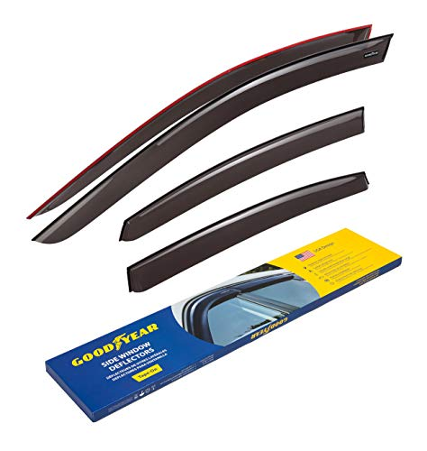 Goodyear Side Window Deflectors for Nissan Altima 2013-2018 Sedan, Tape-on Rain Guards, Window Visors, 4 Pieces - GY003145 (2018 Nissan Altima Rain Guards)