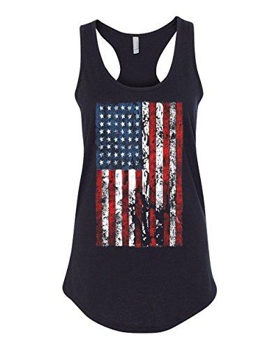 Distressed American Flag USA Patriotic Womens Racerback Tank Top Black (Distressed Womens Tank Top)