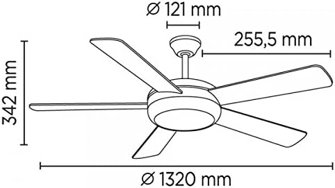 Wonderlamp Conte Ventilador E27, 15 W, Marrón, 132 x 132 x 34.2 cm ...