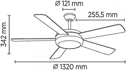 Wonderlamp Conte Ventilador De Techo Con Luz E27, 15 W, Blanco ...