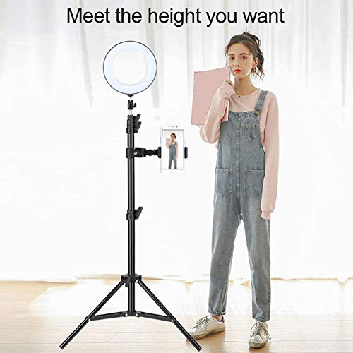 6inch Selfie Light Kekailu,Mini Led Camera Ringlight with Tripod Stand Desktop LED Lamp Cell Phone Holder for Live Stream/Makeup, YouTube Video/Photography - Pedestal Magnification 7x Light Adjustable