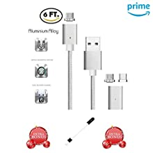 Newest Strongest Magnet 2.4A CoolKo Magnetic Black Braided USB Charging and Data Sync Cable for Type C Smart Phones and Tablets, Fastest Charging and Data Sync Cable [2 Cables with 4 Type C Heads]