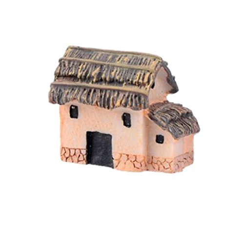 YRD TECH Mini Dollhouse Stone House Cottage Resin Decorations For Home And Garden DIY Mini Craft Cottage Landscape Decoration (F) (Disney Rear View Mirror Ornament)