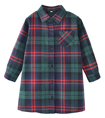 Girls' Long Sleeves Button Down Flannel Buffalo Tunic Plaid Shirt Dress Blouses Tops, Green Red, 8-9 Years = Tag 140 ()
